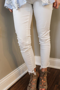 White Distressed Slant Hem Denim
