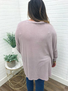Lavender Button Down Knit Top