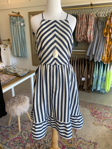 Navy Striped Halter Dress