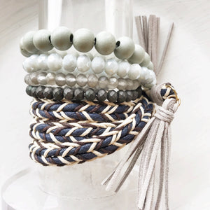 Grey Beaded Bracelets w/ Braided Suede Tassel