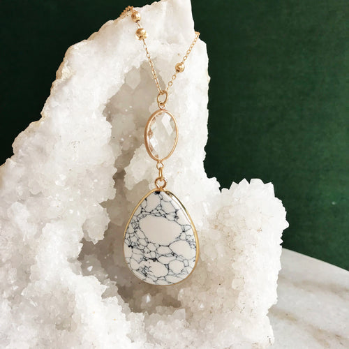 White Stone Pendant Necklace