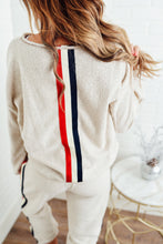 Tan Pullover with Stripe Back