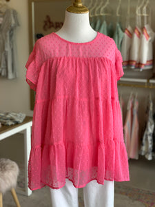 Hot Pink Babydoll Top