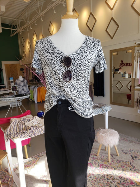 White Mini Leopard V Neck Tee