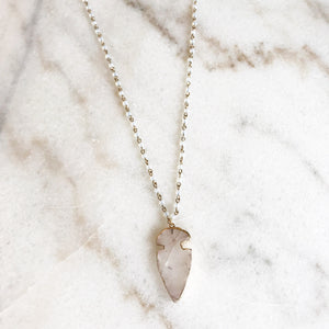 Clear Arrowhead Stone Pendant Necklace