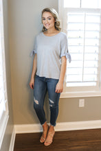 Grey Tee w/ Knotted Sleeves