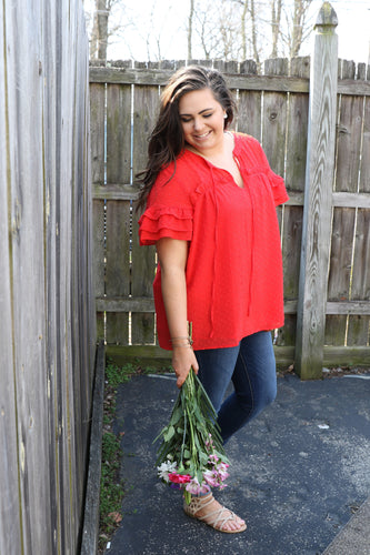 Red Ruffle Tie Neck Top
