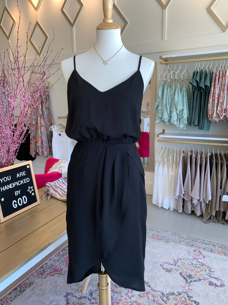 Black Blouse-y Strap Dress