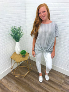 Grey Top w/ Drawstring Tie Front