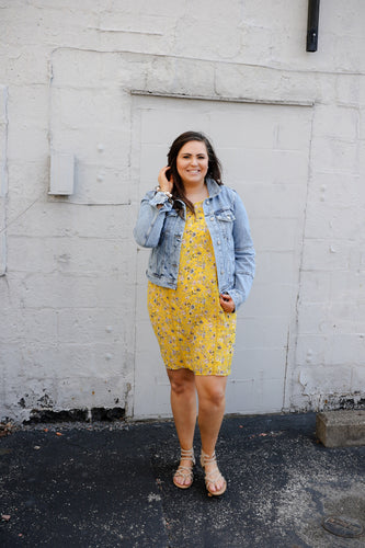 Mustard Lace Trim Floral Dress