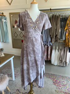 Smoky Greige Wrap Dress