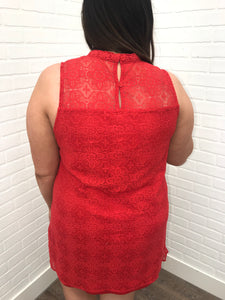 Red Embroidered Tank Dress