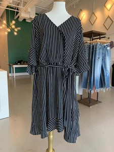Black Stripe Ruffle Wrap Dress