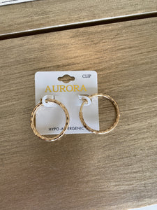 Gold Clip On Hoops