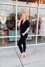 Black jumpsuit wrap front - Sugar Threads Boutique