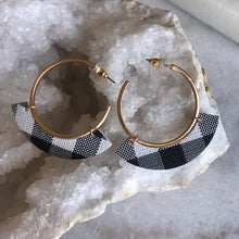White and Black Buffalo Plaid Hoop Earrings