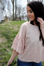 Dusty Rose Eyelet Sleeve Top