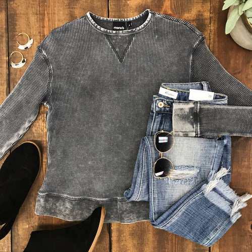 Charcoal Mineral Wash Thermal Pullover