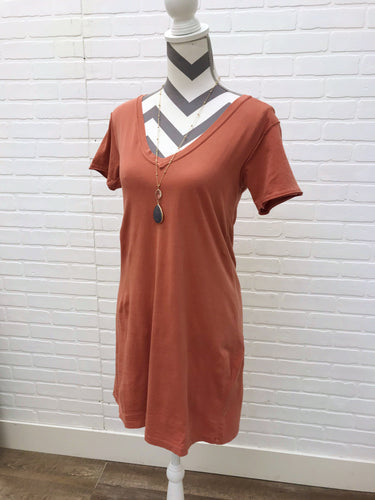Rust Organic T Shirt Dress