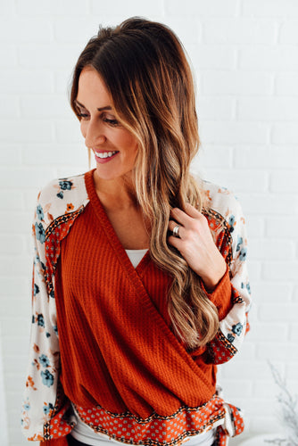 Rust Top with Multi Print Sleeves and Tie Waist
