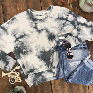 Brushed Grey Tie Dye Pullover