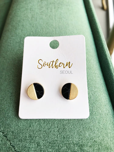 Round Stone and Gold Stud Earrings