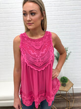 Hot Pink Crochet Trim Tank