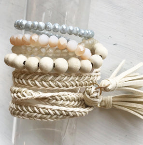 Ivory Beaded Bracelets w/ Braided Suede Tassel