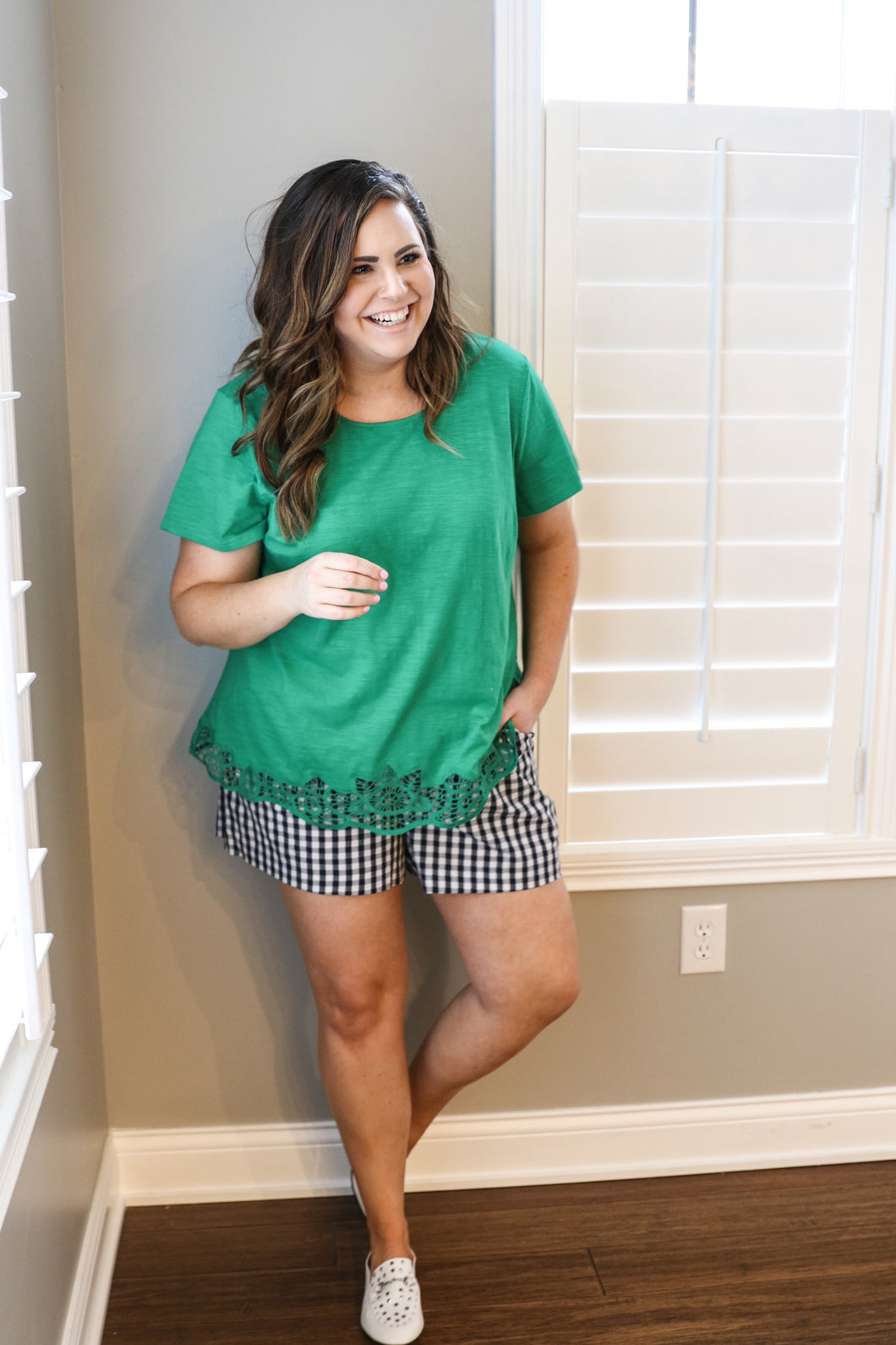 Emerald Crochet Trim Top