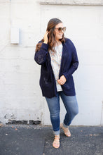 Navy Crochet Open Cardigan