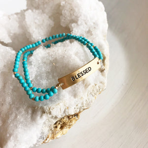 Blessed Turquoise Bead Bracelet