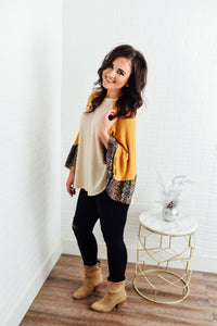 Mustard Top with Multi Print Sleeves