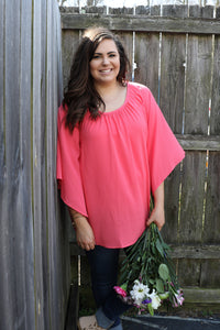 Bright Coral Waterfall Sleeve Top