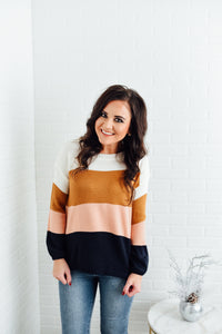 Navy, Pink, Ivory Color Block Sweater