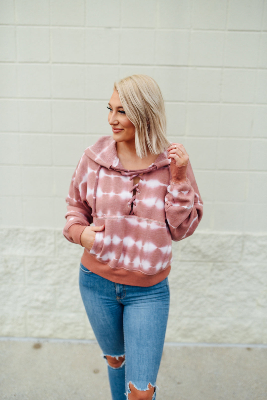 Tie-dye lace up hoodie - Sugar Threads Boutique