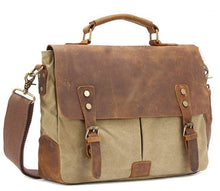 Load image into Gallery viewer, Men's Leather + Canvas Business Briefcase