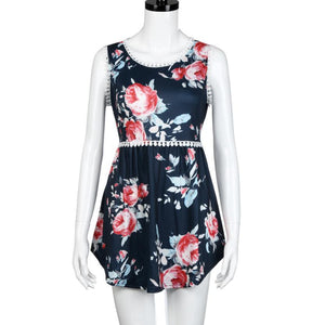 Women's Sleeveless Summer Floral T-Shirt