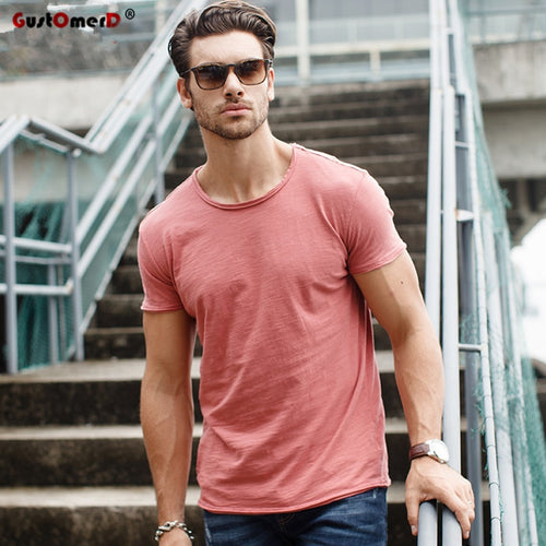 Man's O-neck Slim Fit Solid Color T-shirt