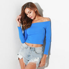 Load image into Gallery viewer, Off Shoulder Long Sleeve Crop Top