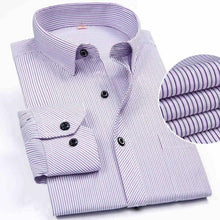 Load image into Gallery viewer, Men's Long Sleeved Striped Dress Shirt