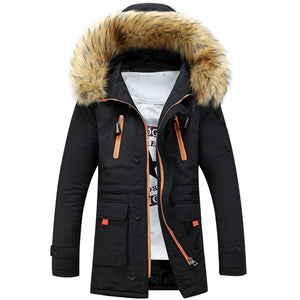 Men's Warm Winter Hooded Fur Jacket