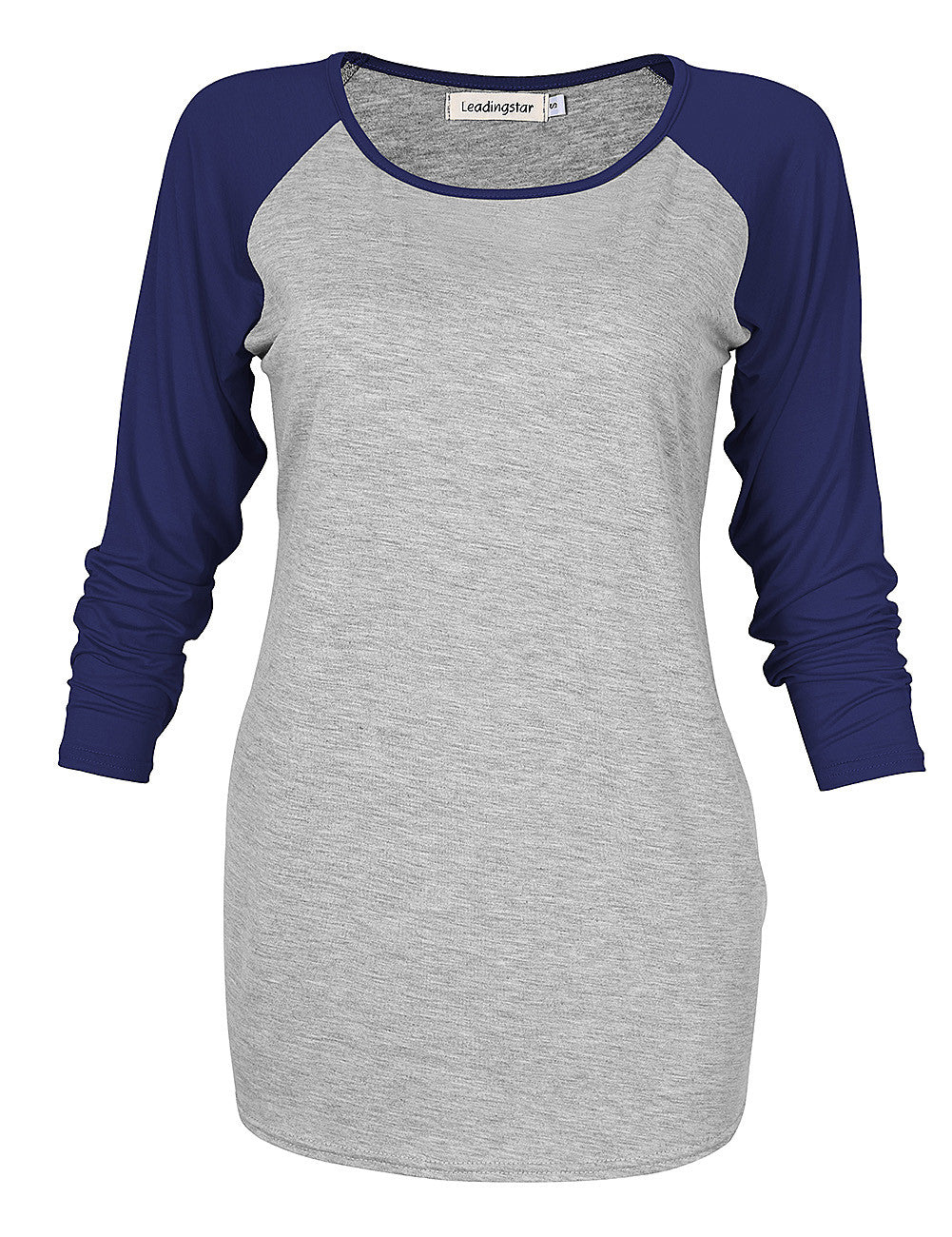 Womens 3/4 Sleeves T Shirts Juniors Tees Round Neck Collision Color Top