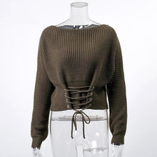 Load image into Gallery viewer, Lace Up Knitted Pullover Sweater