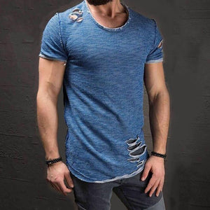 Men's Ripped Solid Color T-Shirt