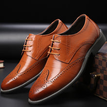 Load image into Gallery viewer, Men's Brogue Leather Dress Shoes