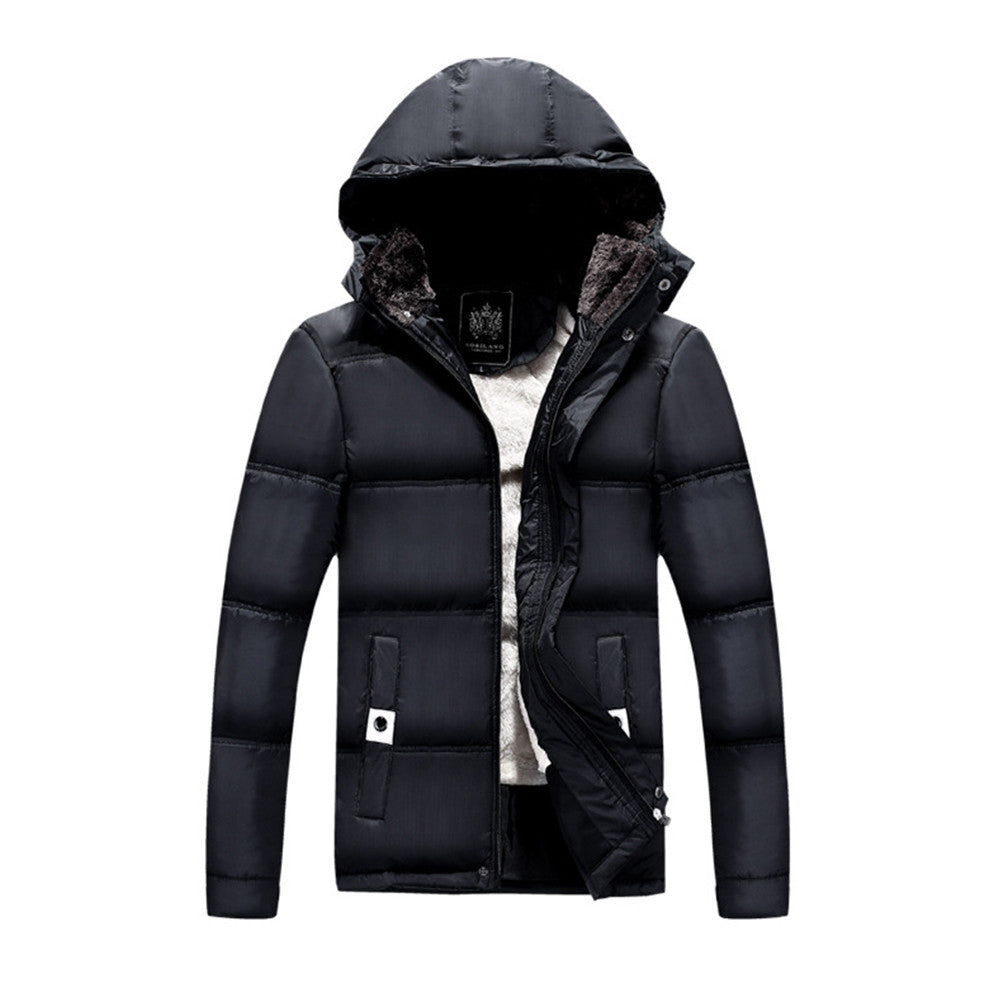 Men's Winter Thicken Quilted Coat with Removable Hood
