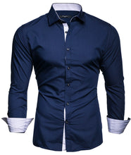 Load image into Gallery viewer, Men's Long Sleeve Slim Fit Dress Shirt