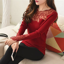 Load image into Gallery viewer, Women's Cashmere Lace Collar Sweater