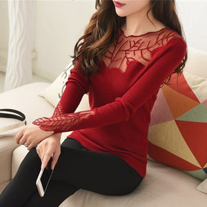 Women's Cashmere Lace Collar Sweater