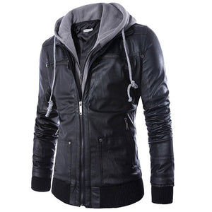 Men's Hooded Leather Coat